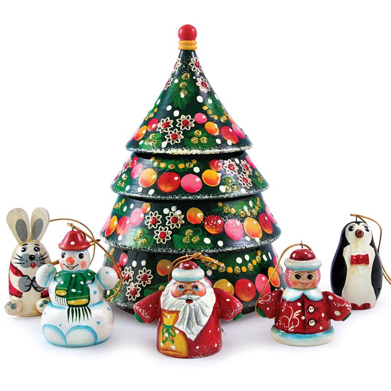 Christmas Tree Hat.Nesting Doll W Christmas Tree Ornament Set