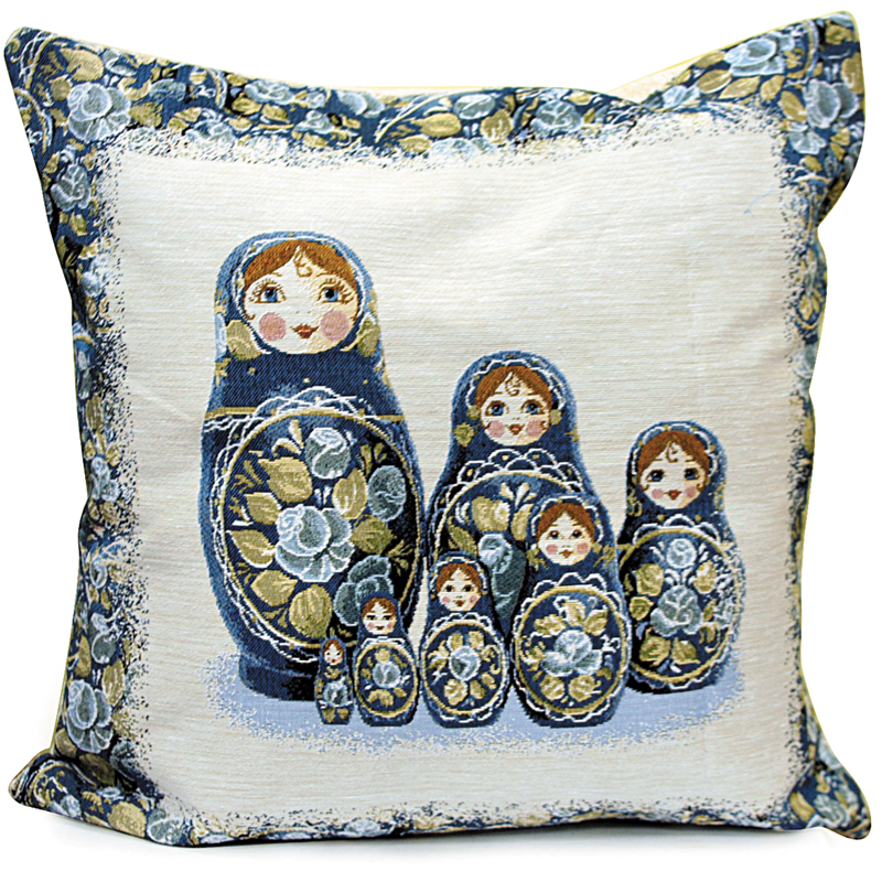 How To Make A Doll Decorative Pillow : Gzhel-Style Nesting Doll Decorative Tapestry Throw Pillow Product sku S-111436
