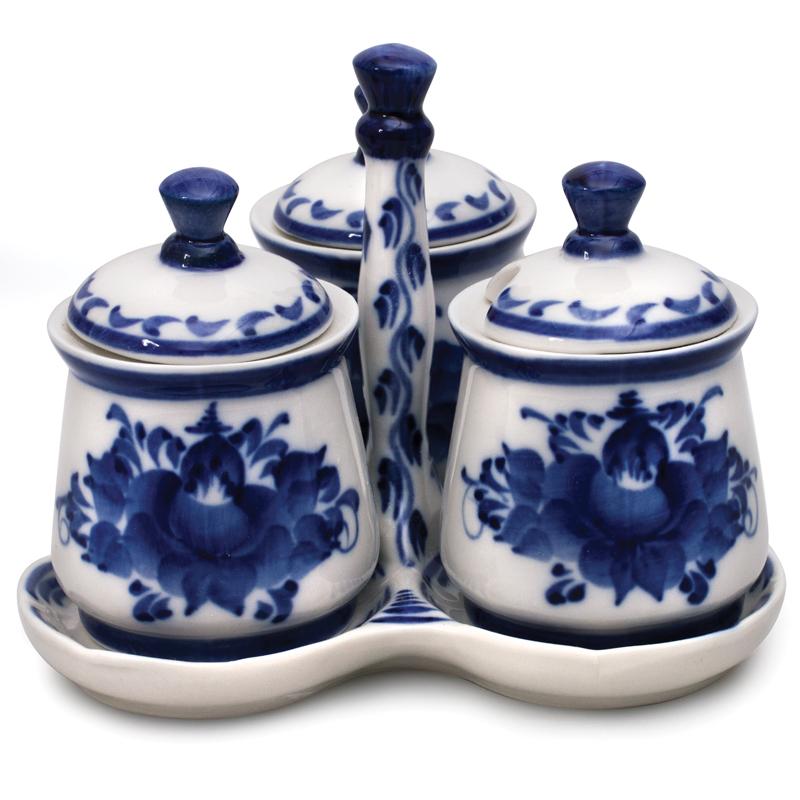 Erema Spice Jar Set Blue Amp White Porcelain Gzhel Product