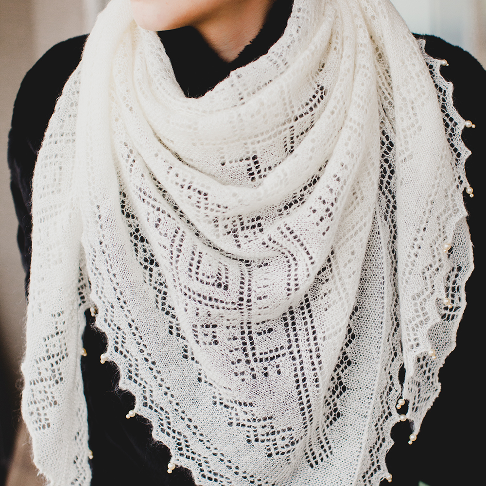 Orenburg Triangular Natural Down Shawl With Mother-or
