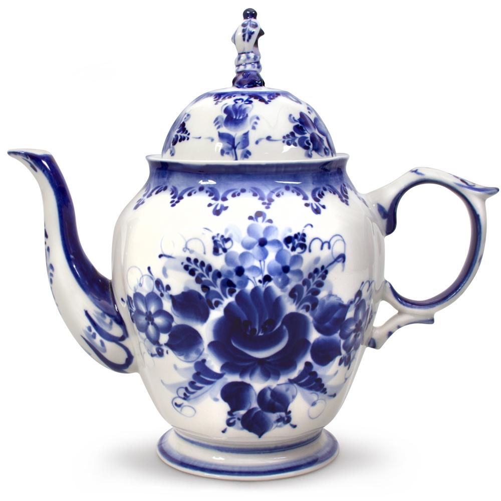 Gzhel Liza Teapot Blue And White Teapot Product Sku J