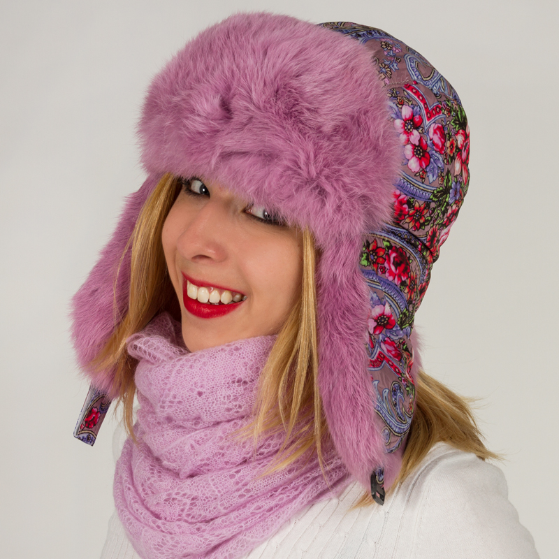 Russian Hat With Ear Flaps Ushanka Pink Product Sku