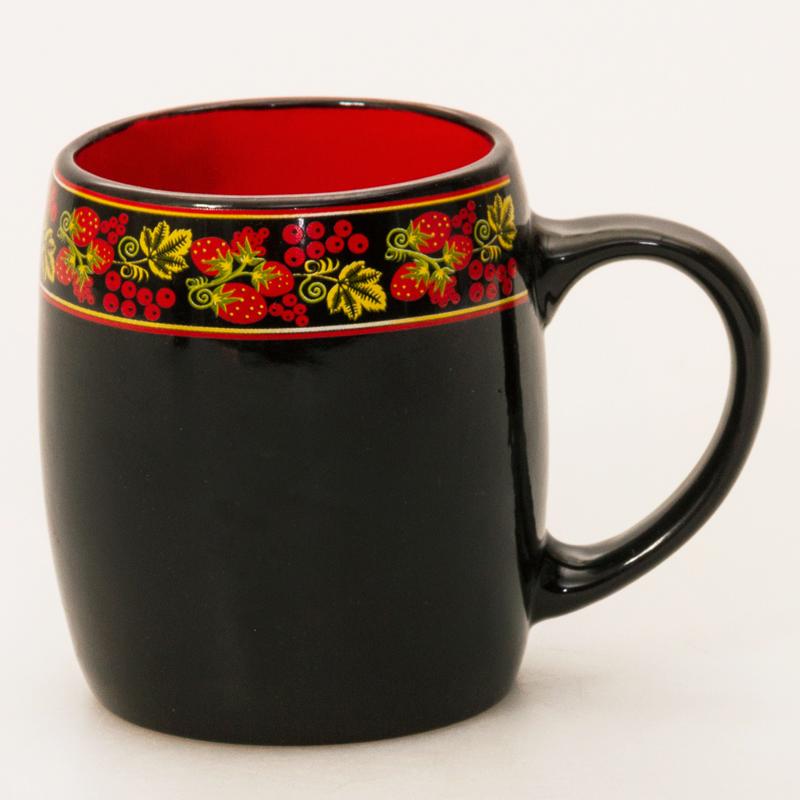 Ceramic Strawberry Mug Barrel Shaped Product Sku J 129240