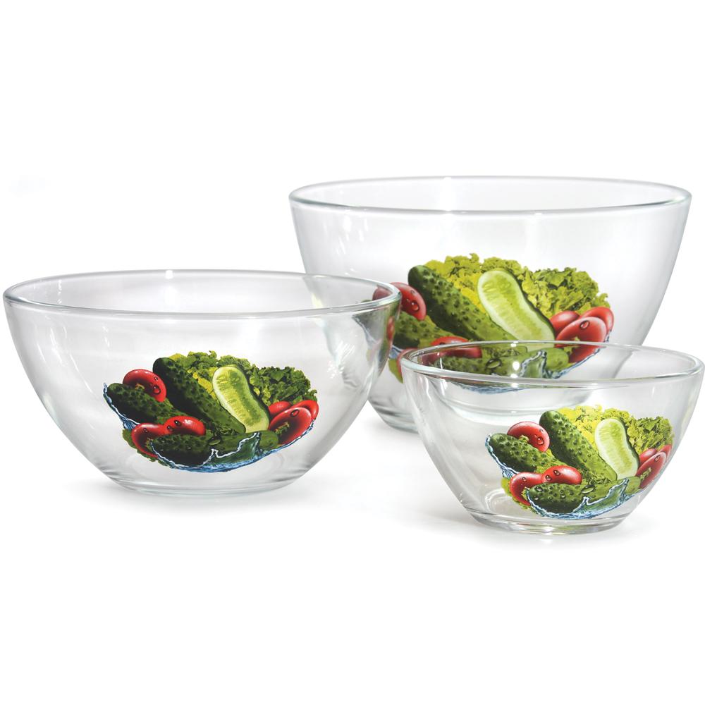 Cucumbers glass salad bowl set product sku j