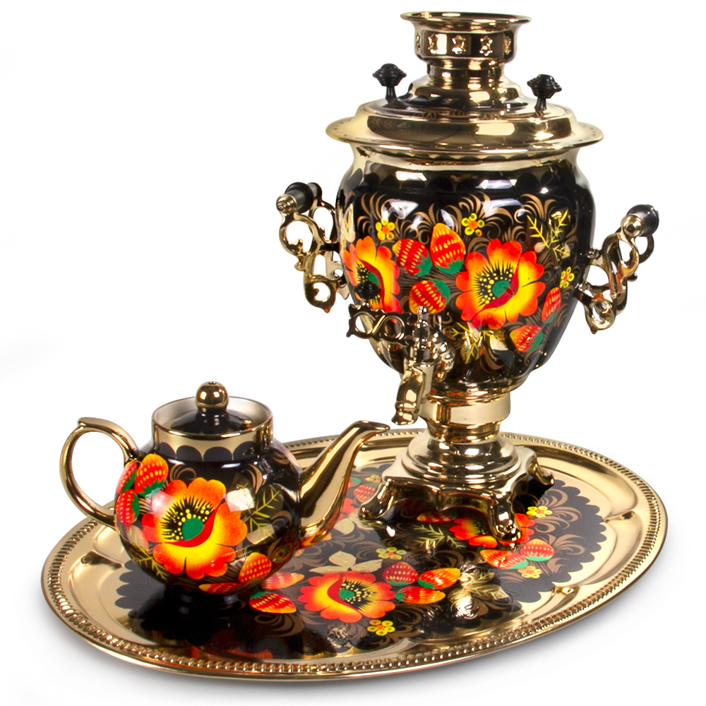 Dazzling Poppies Electric Samovar Set With Tray & Teapot