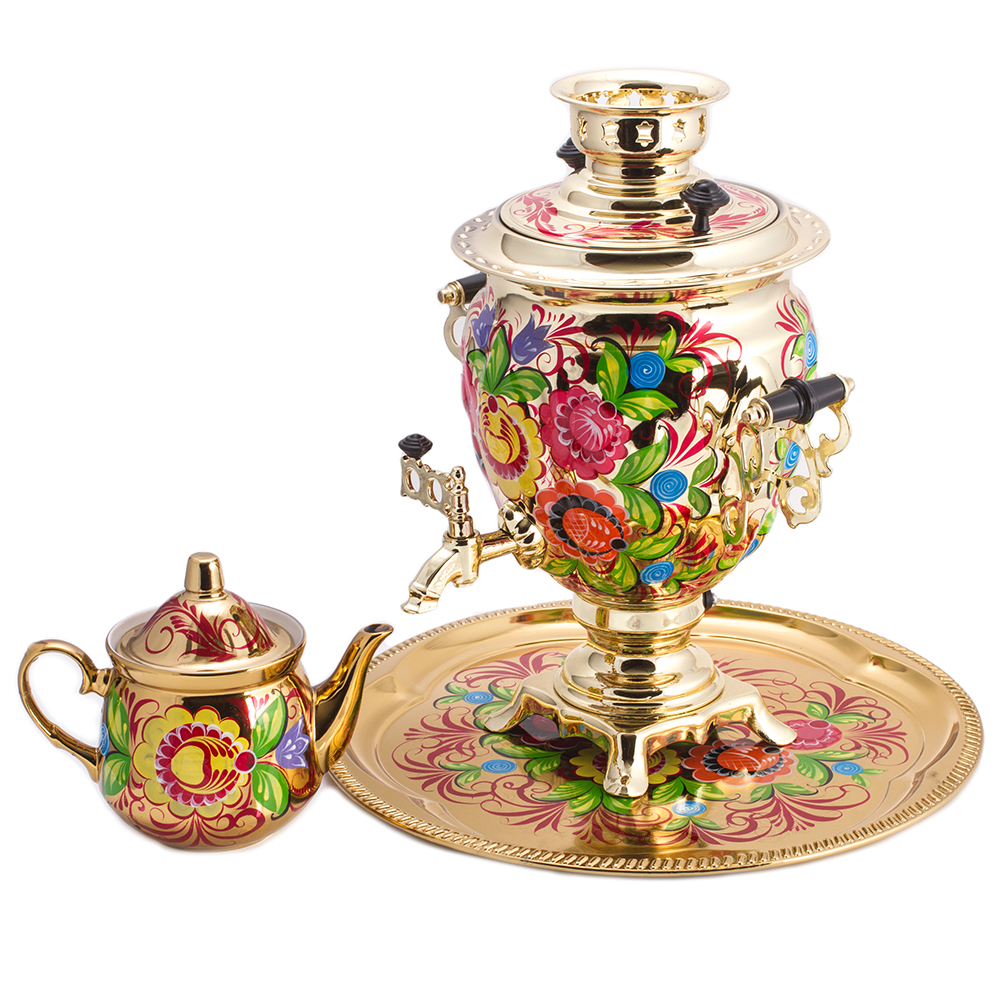Enchanted Flowers Golden Electric Samovar Set With Tray