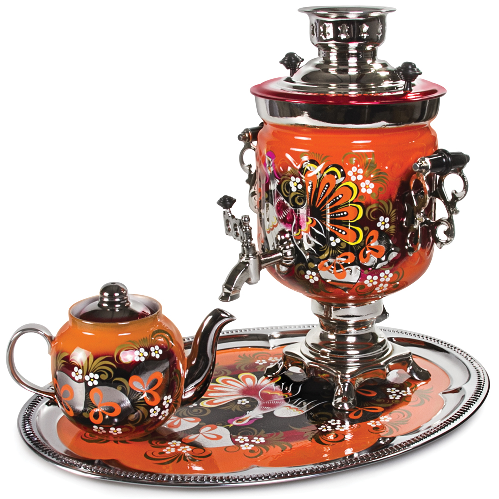 Wood Grouse Electric Samovar Set With Tray Amp Teapot
