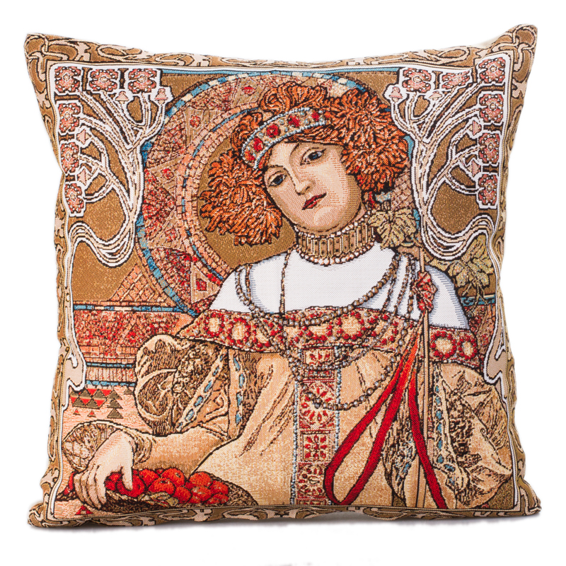 Decorative Tapestry Throw Pillows : Autumn (Alphonse Mucha) Decorative Tapestry Throw Pillow Product sku J-144466