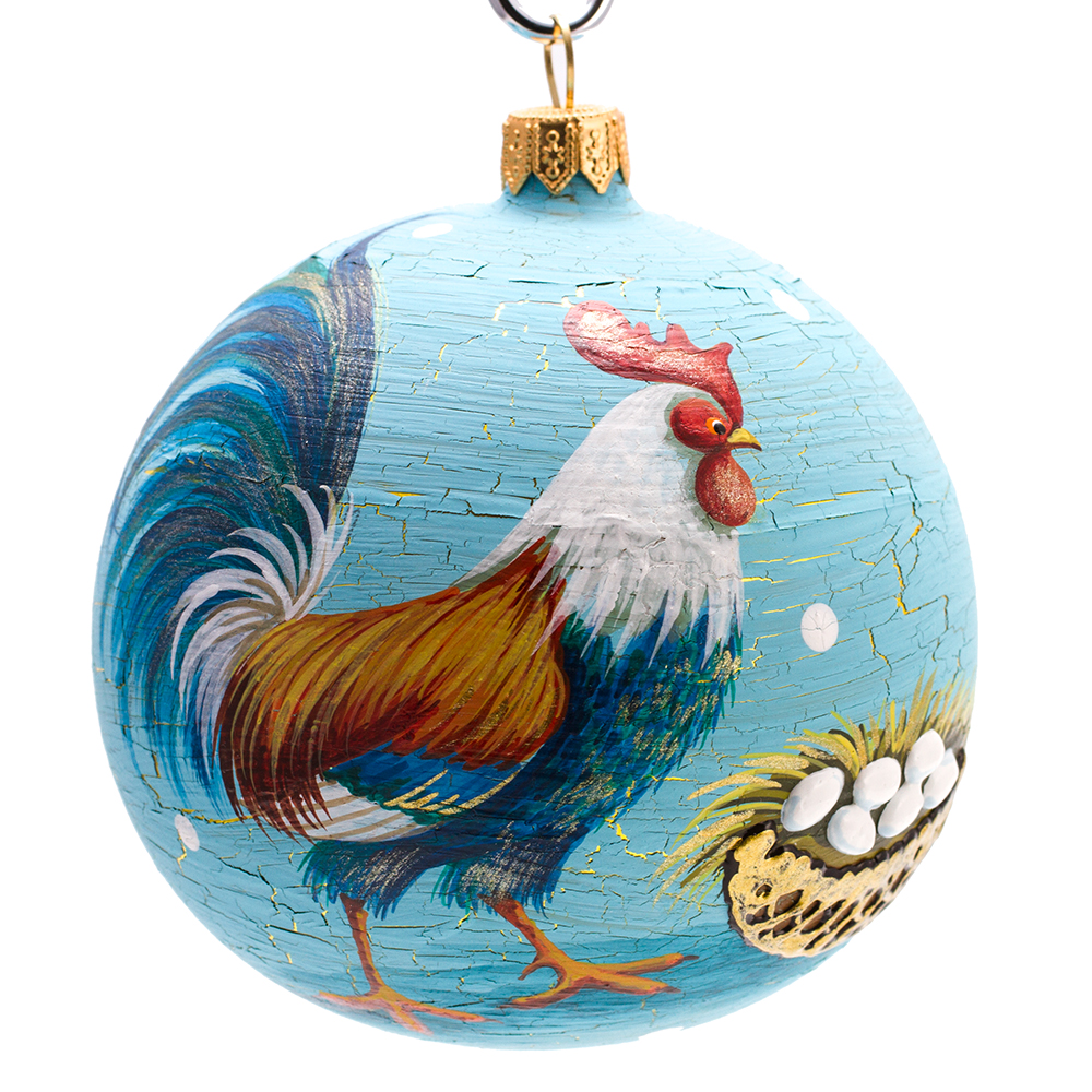 Chicken christmas ornaments - Rooster Ball Christmas Ornament