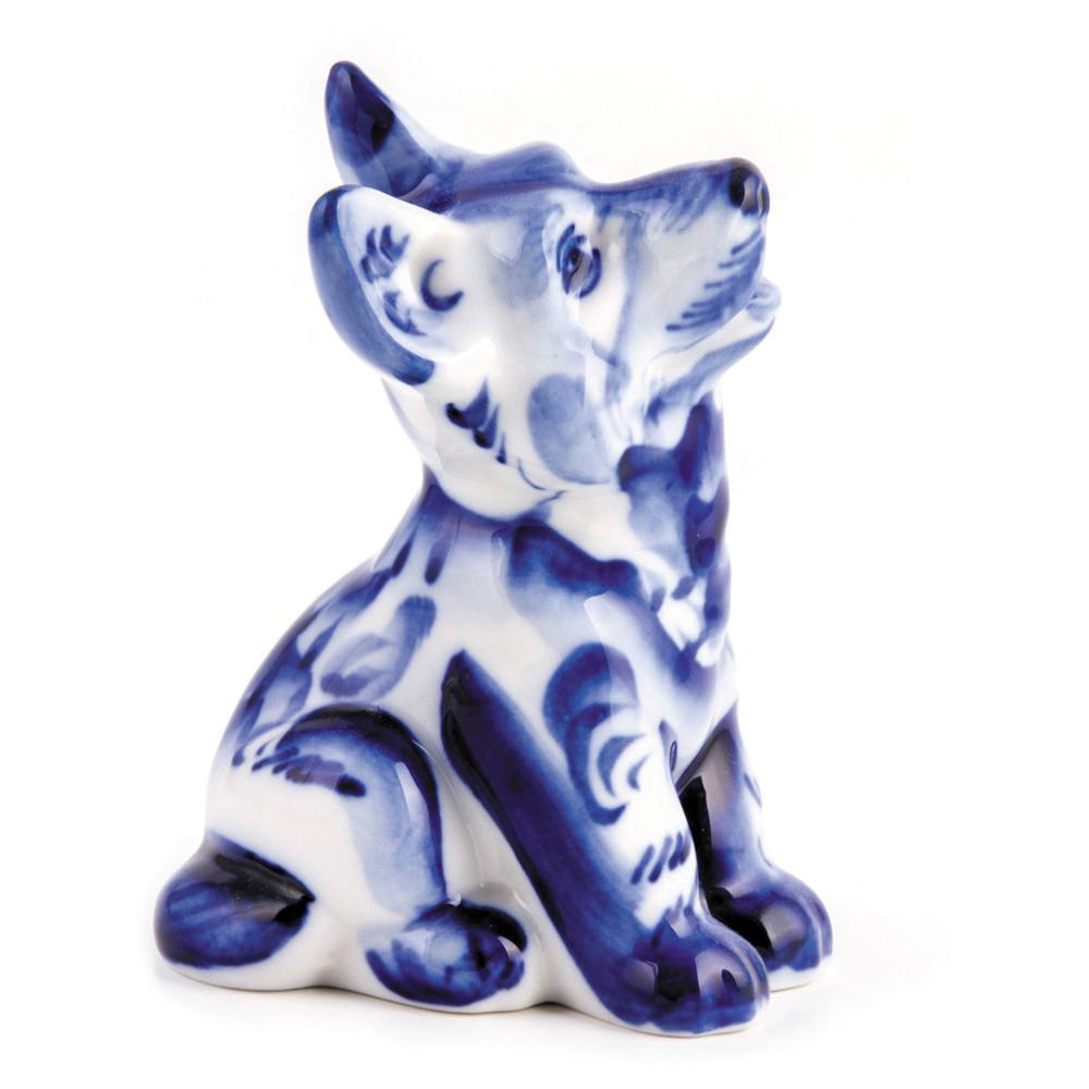 Puppy Figurine Blue Amp White Porcelain Gzhel Product Sku