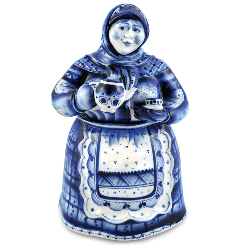 Matrona Tea Caddy Blue Amp White Porcelain Gzhel Product