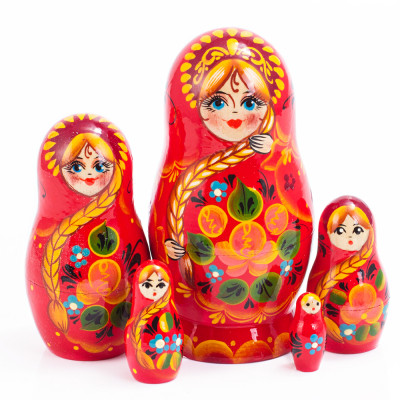 Red Patterns Nesting Doll 5 Pc