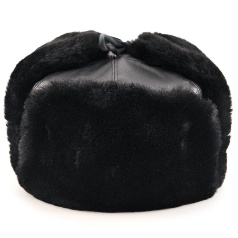 Russian Ushanka Hat with Ear Flaps (black)  93c4a8411c3