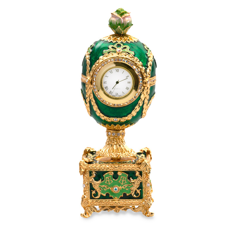 musical kelch chanticleer egg with clock and rose