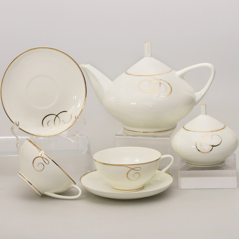 Golden Curls 14 Piece Porcelain Tea Set For 6 Persons