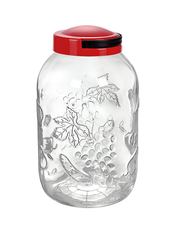 Red Embossed Glass Jar With Lid