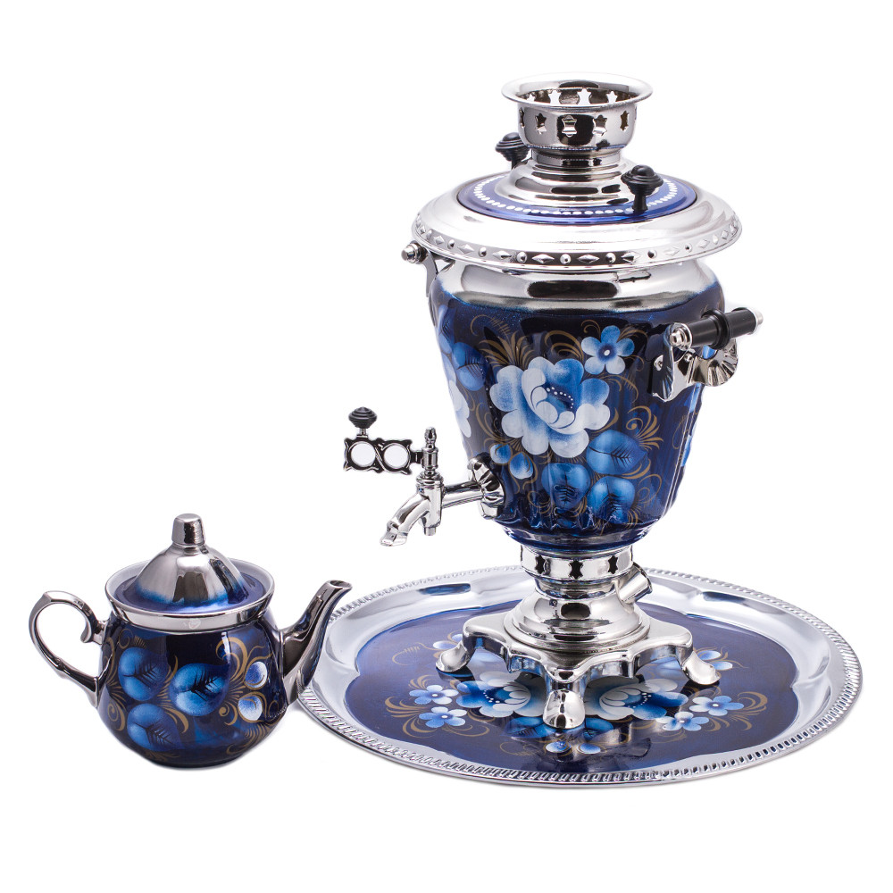 Zhostovo On Blue Electric Samovar Set With Tray & Teapot