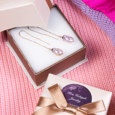 Kira Koktysh. Poppy Seeds Drop Pearl earrings (pink) | Product sku Y ...