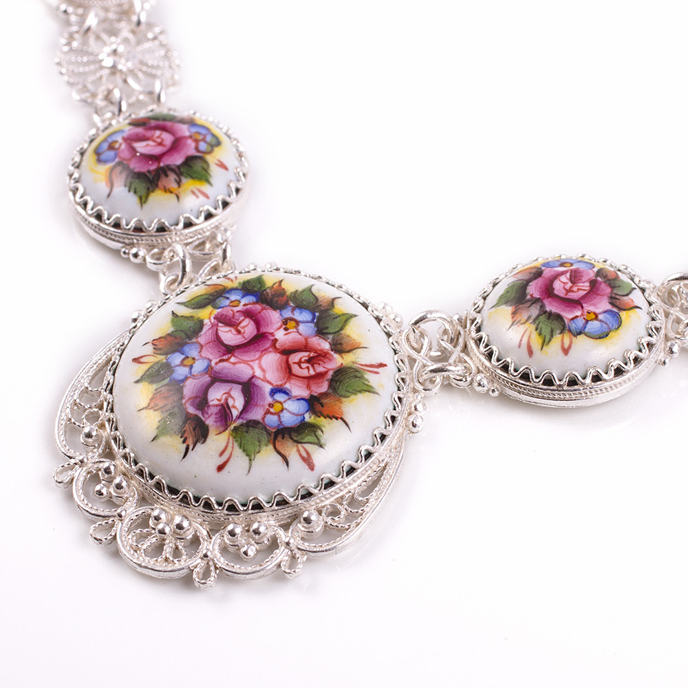 Hand Crafted Enamel House Necklace Pendant Copper Home: Blossom Necklace With Earrings Finift Enamel Set