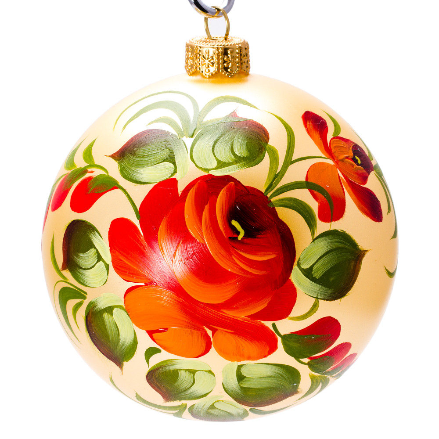 Rose christmas ornament - Holiday Bouquet Zhostovo Ball Christmas Ornament