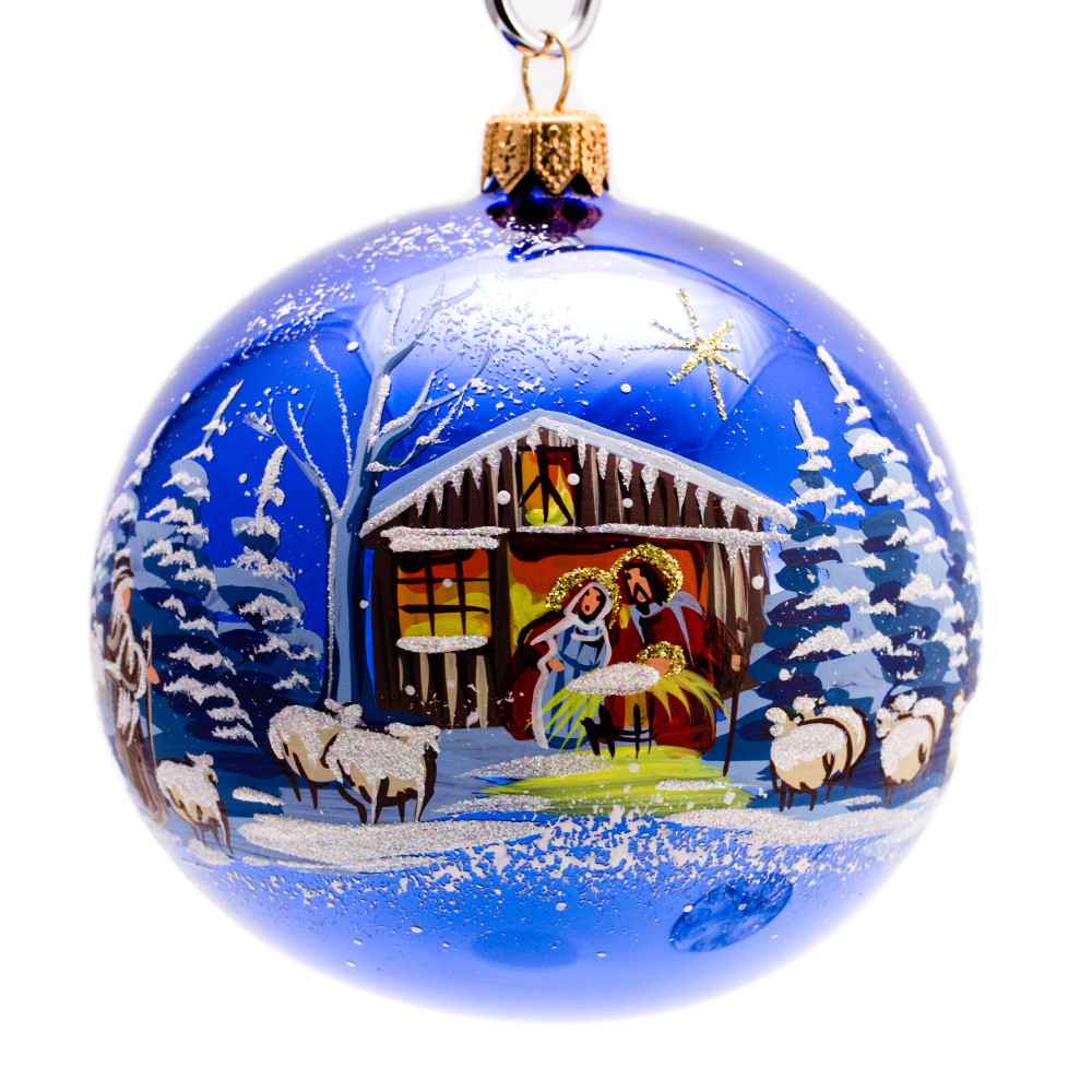 nativity scene ball christmas ornament