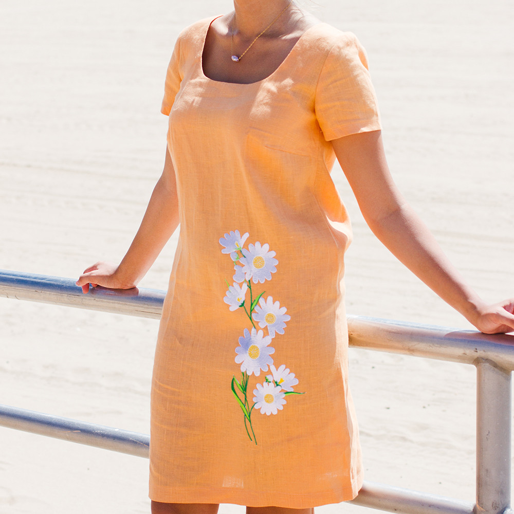 bc4be29998 Daisy Embroidered Peach Linen Dress