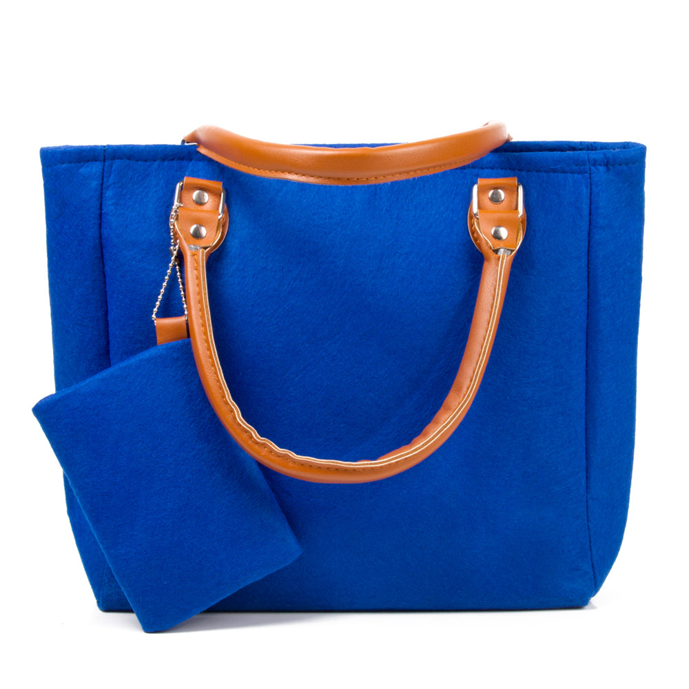 Blue Felt Tote Bag With Leather Handles