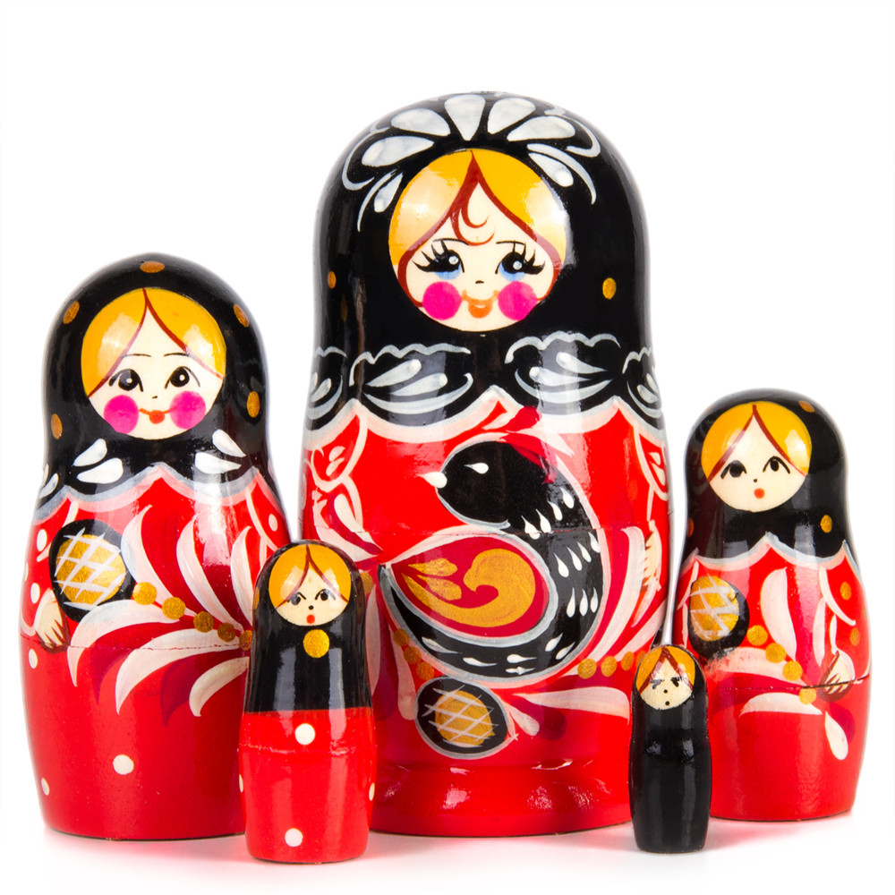 Nesting dolls Firebird Black and red Hand-painted Signed russian modern doll