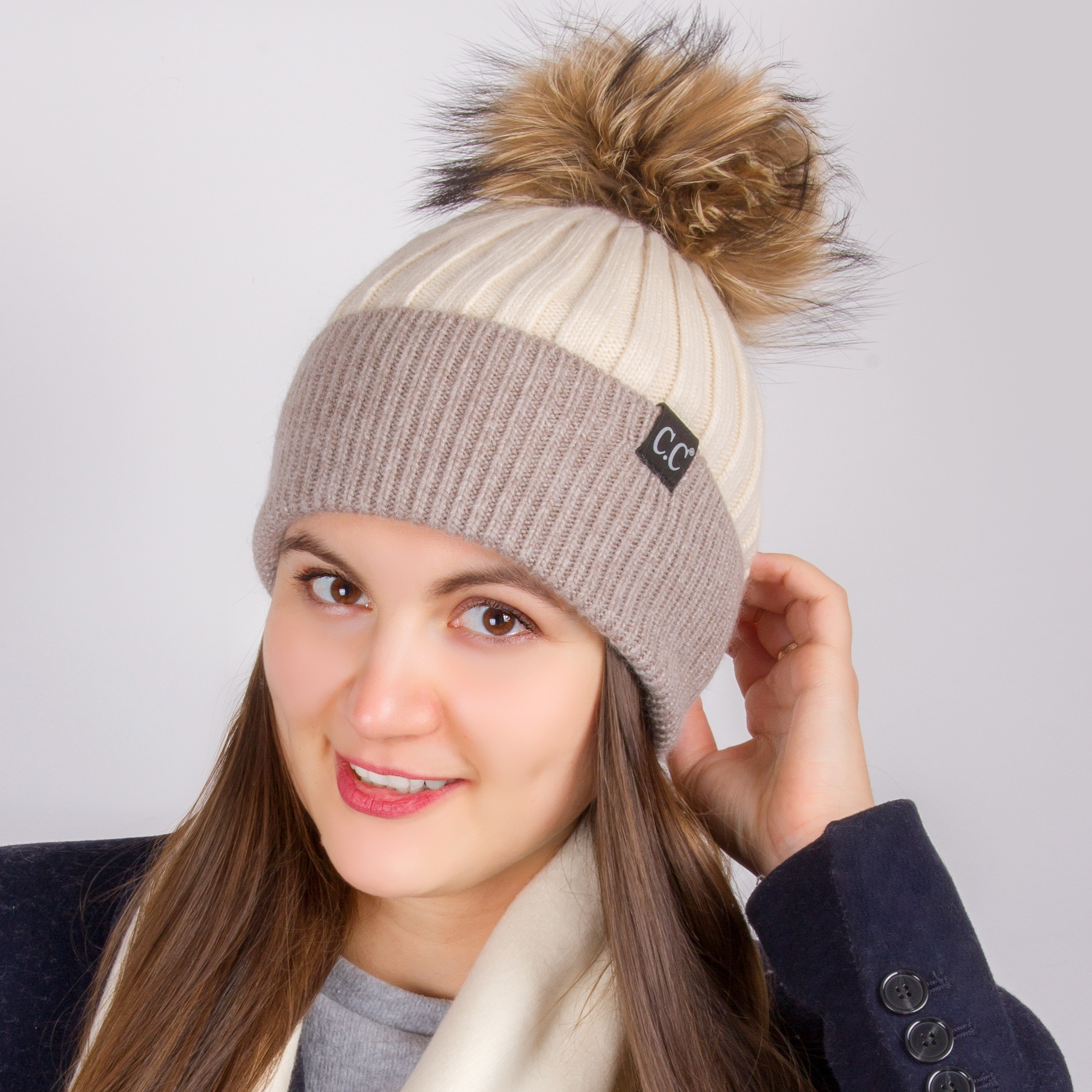 10eff1ea1d7c7 Two Tone Beanie Hat with Fur Pom-pom in Beige   Taupe