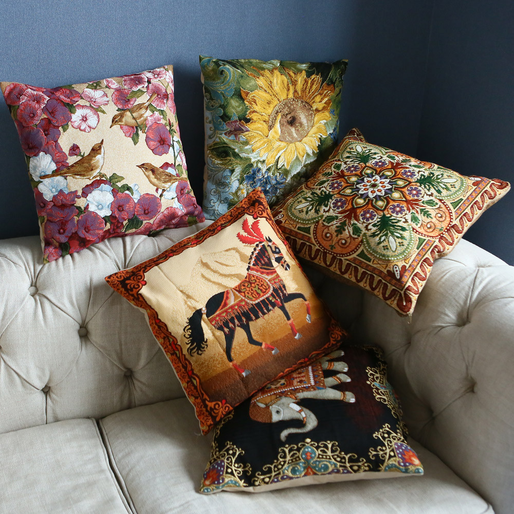 Intricate Ornaments Decorative Tapestry Throw Pillow