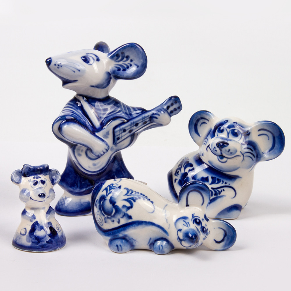 Blue /& White Ceramic Mouse Funny mouse statuette Collectible Gzhel animal figurine Amazing Gzhel Russian Porcelain mouse figurine
