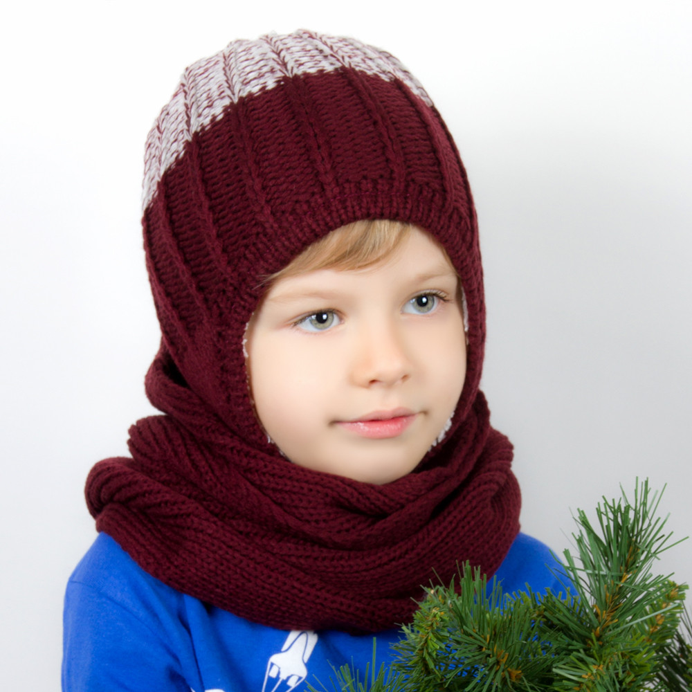 Children S Hat Scarf And Gloves Set Burgundy Product