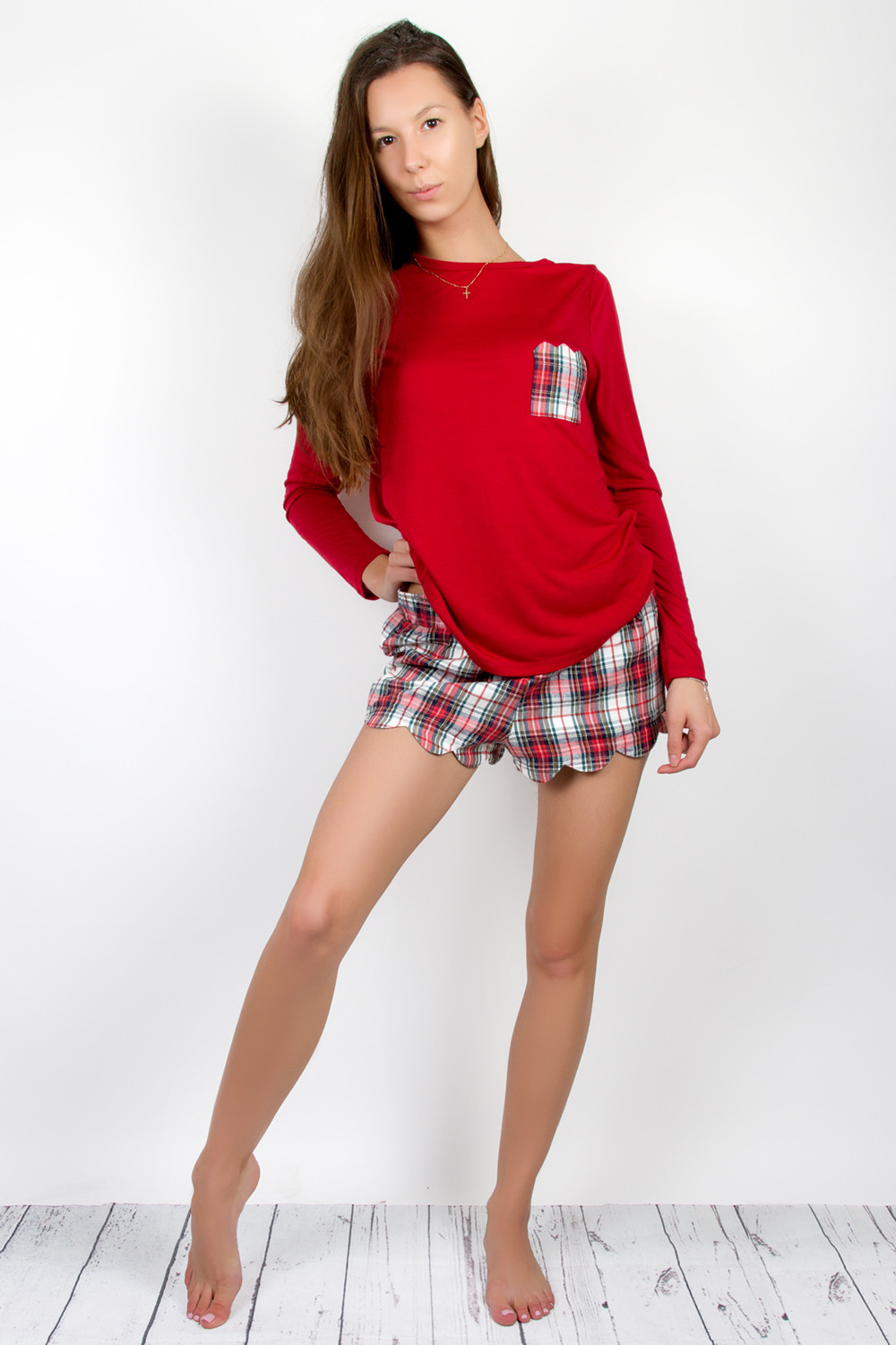 c7636f934 Long Sleeve Shirt And Shorts Pajama Set