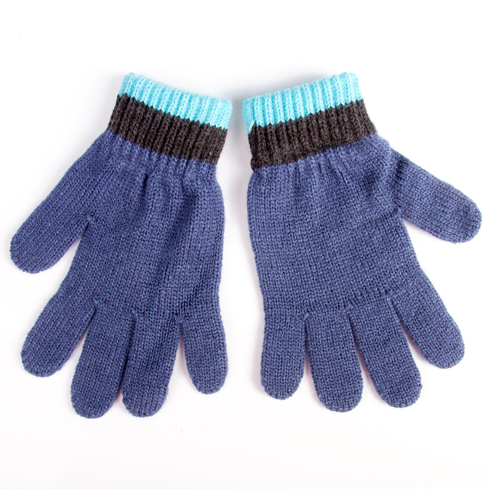 Boys/' Hat Scarf and Gloves Set 6-13 Years Blue Color