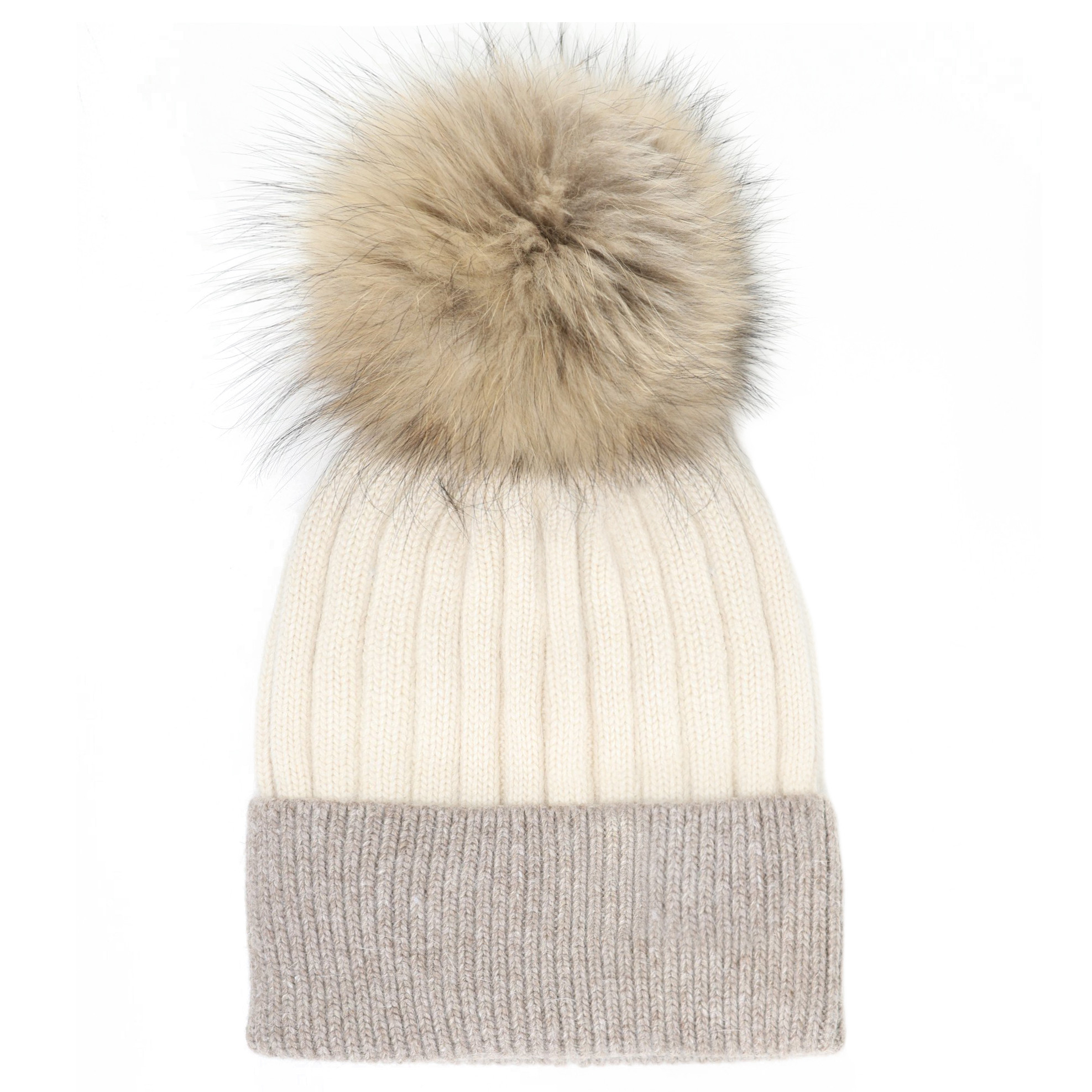 ab1890c1 Two Tone Beanie Hat with Fur Pom-pom in Beige & Taupe | Product sku Z-179916