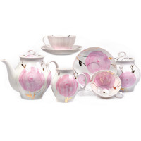 15-Pc Bone China Tea Set Pour 6 Personnes Porcelaine Blanche placage or RUSSIE GZHEL