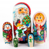 """Snowman 6.75/"""" Nesting Doll w// Christmas Tree Ornament Set Father Frost Penguin"""